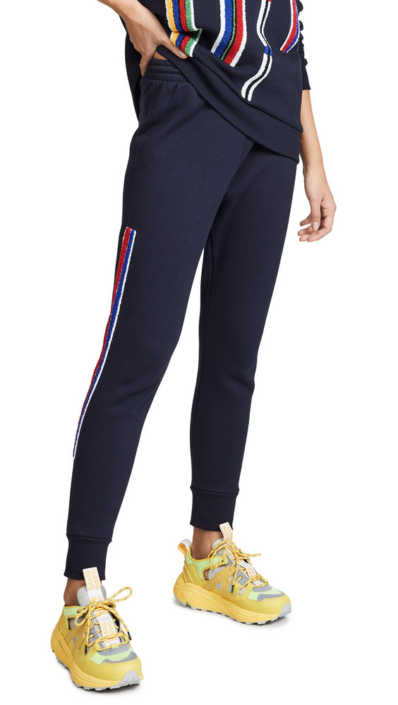 Etre Cecile Chenille Stripe Track Pants in navy