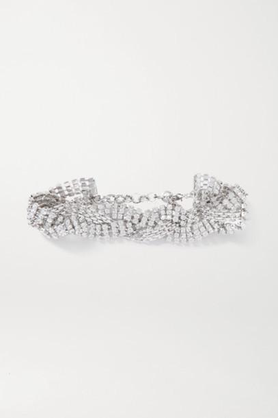 Alessandra Rich - Rhodium-plated Crystal Choker - Silver