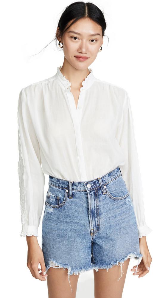 Birds of Paradis Solene Lace Trim Shirt in white
