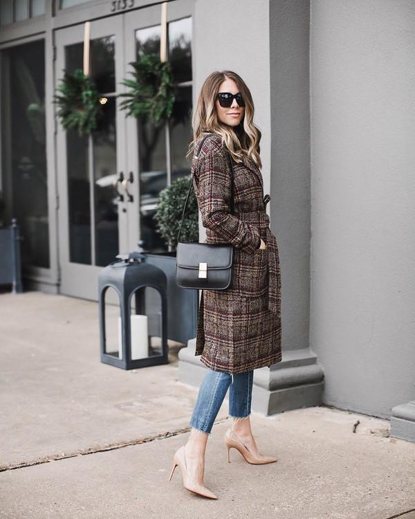 coat oversized coat plaid wool coat pumps jeans black bag shoulder bag