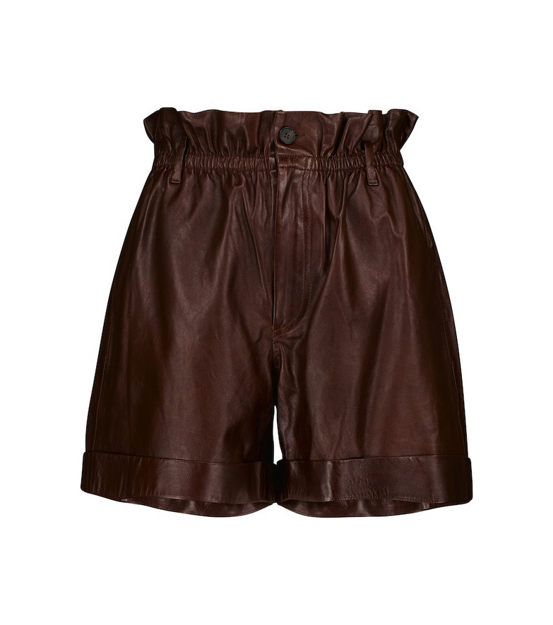 Polo Ralph Lauren Leather paperbag shorts in brown