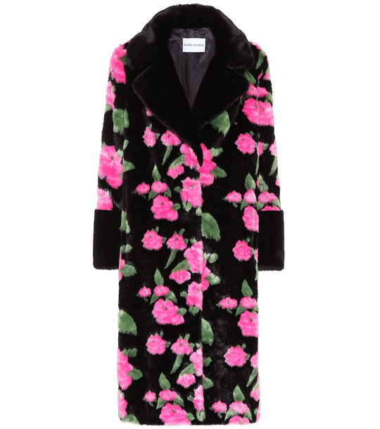 Stand Studio Floral faux-fur coat in black