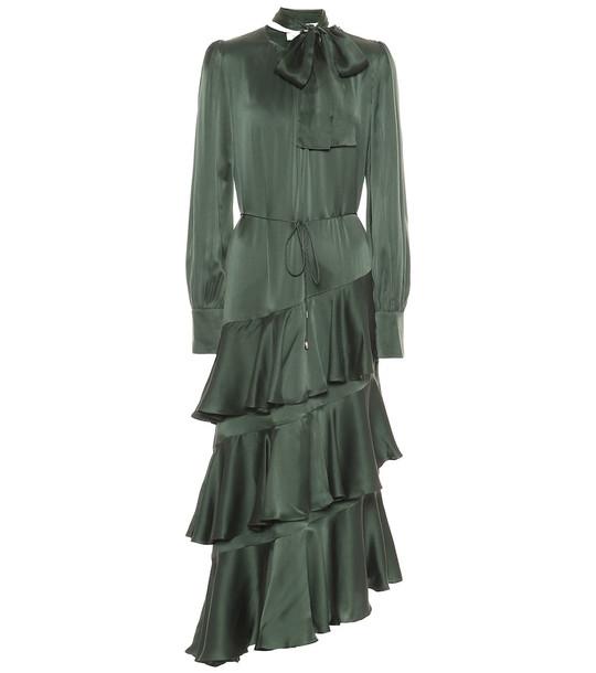 Zimmermann Espionage Flounce silk midi dress in green