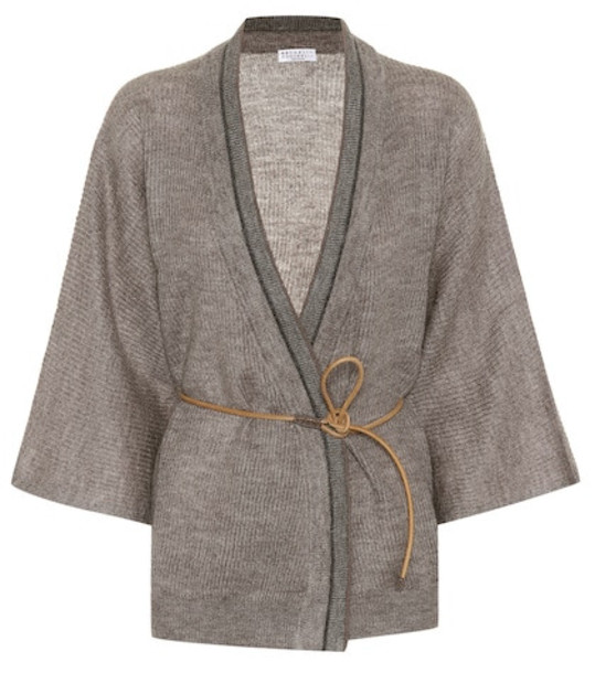 Brunello Cucinelli Mohair and wool cardigan in grey