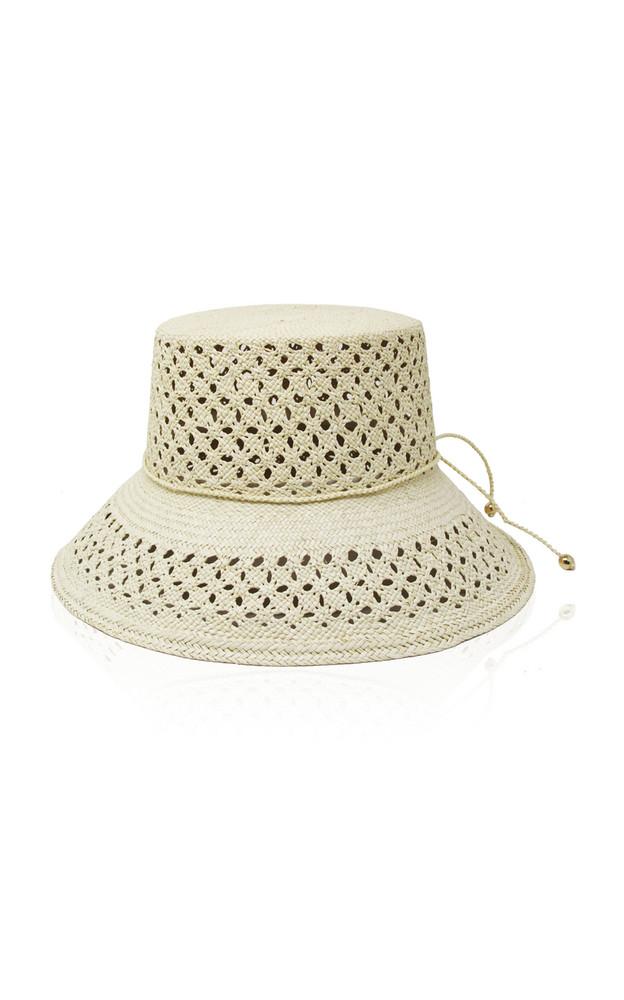 Sensi Studio Calado Lamp Shade Straw Hat in neutral