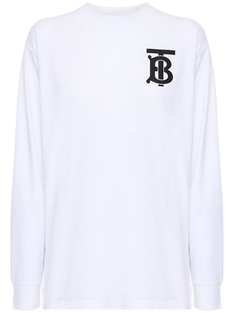 BURBERRY Logo Print Cotton Jersey T-shirt in white