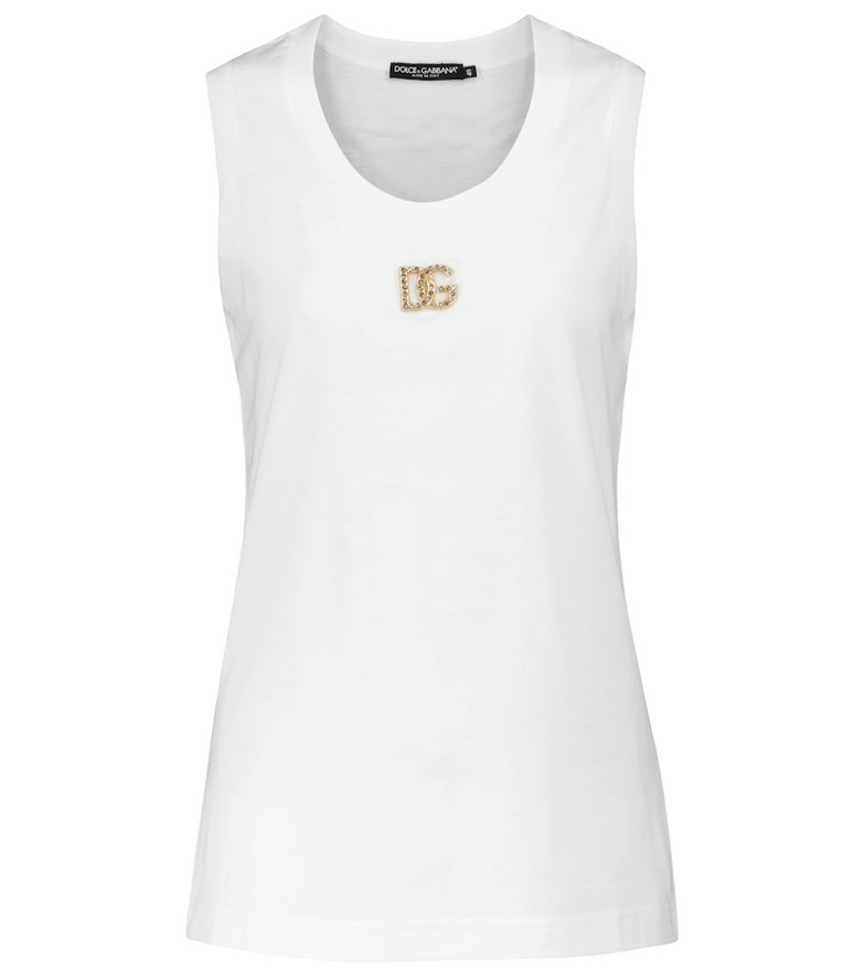 Dolce & Gabbana Embellished-logo cotton tank top in white
