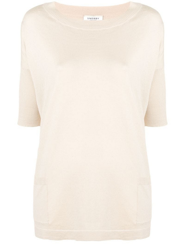 Snobby Sheep short-sleeved knitted top in neutrals