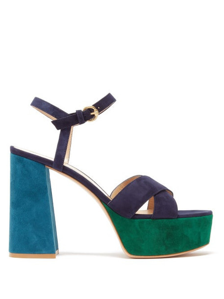 Gianvito Rossi - Tri Colour 70 Suede Platform Sandals - Womens - Navy Multi