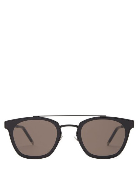 Saint Laurent - Round Frame Top Bar Metal Sunglasses - Womens - Black