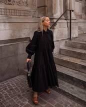dress,maxi dress,black dress,long sleeve dress,shirt dress,slide shoes,black bag