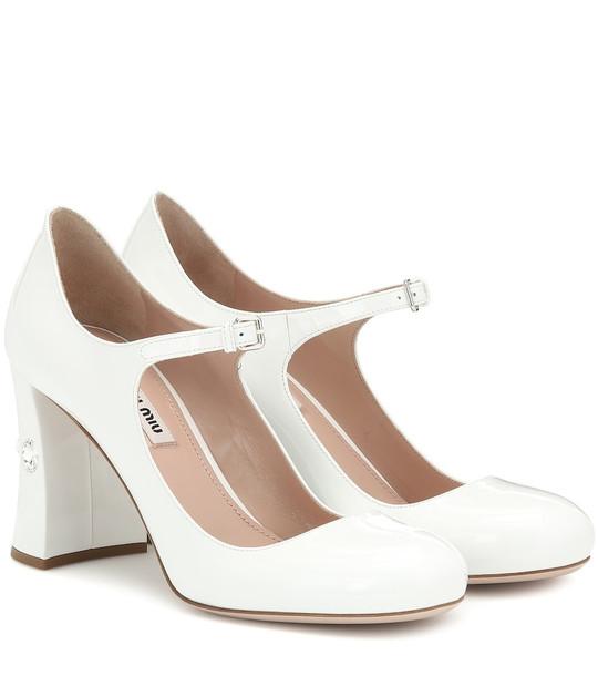 Miu Miu Patent leather Mary Jane pumps in white