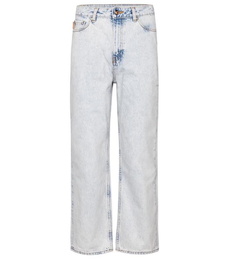 Ganni High-rise straight cropped jeans in blue
