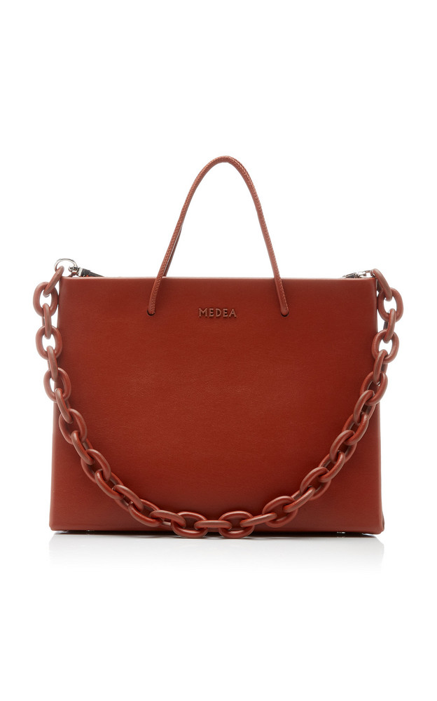 Medea Hanna Chain-Detailed Leather Top-Handle Bag in brown