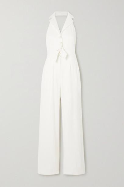 Temperley London - Sophia Tie-detailed Cutout Linen-blend Halterneck Jumpsuit - White