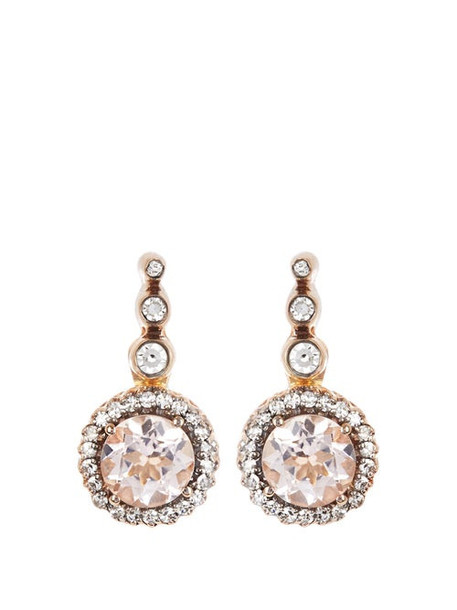 Selim Mouzannar - Beirut Diamond, Morganite & 18kt Gold Earrings - Womens - Pink Gold