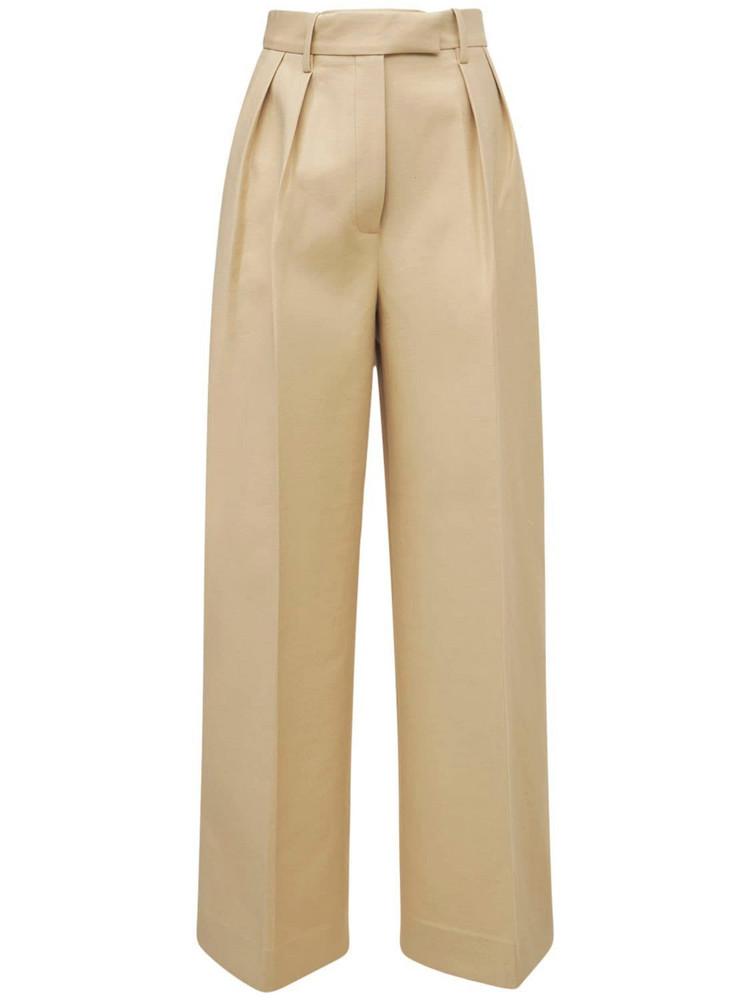 KHAITE Teyana Cotton Gabardine Pleated Pants in beige