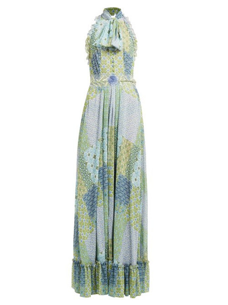 Luisa Beccaria - Floral And Tile Print Tie Neck Gown - Womens - Green Multi