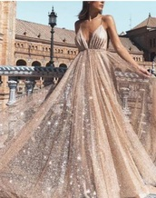 dress,prom dress,gold,flowy,straps,sequins