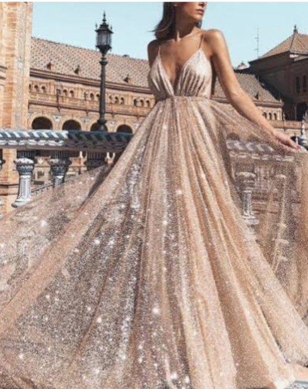 dress prom dress gold flowy straps sequins
