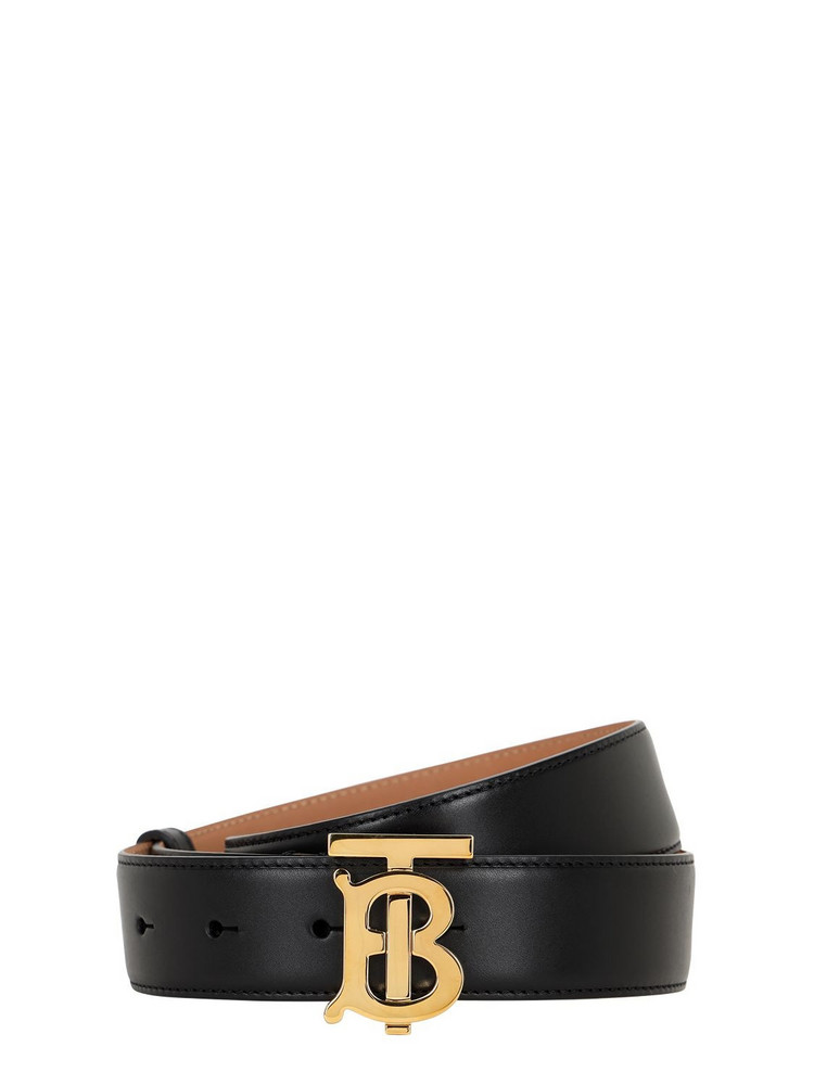 BURBERRY 35mm Tb Leather Belt in black