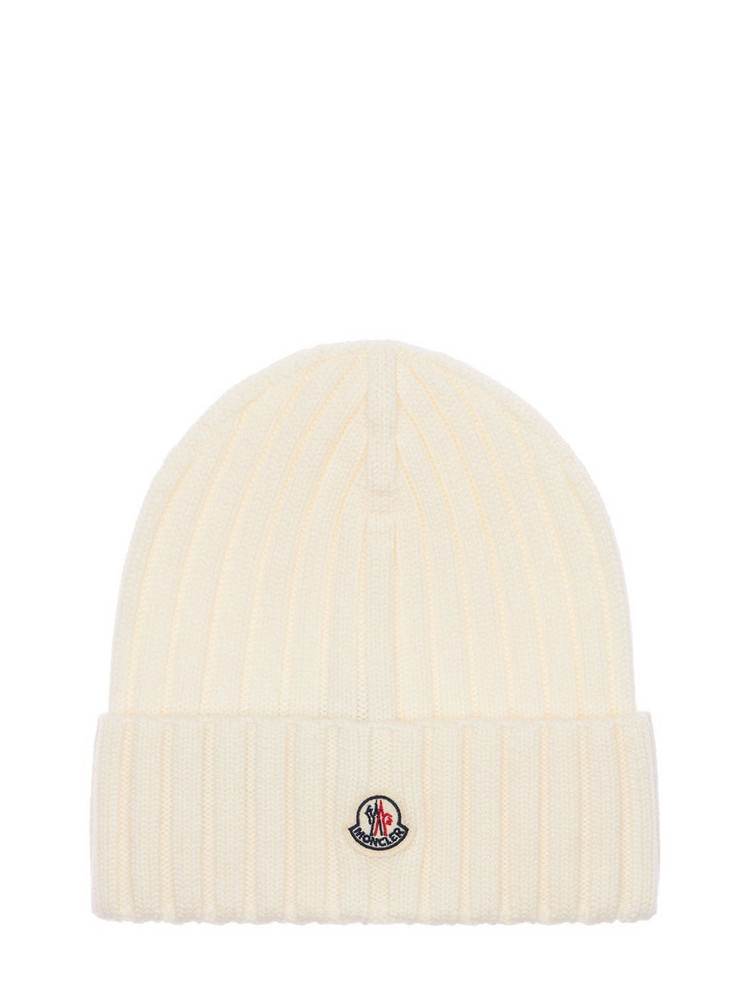MONCLER Wool Knit Beanie in white