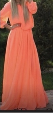 dress,peach dress,maxi dress