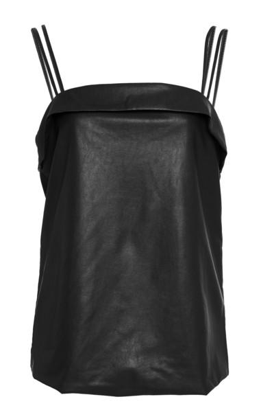 Deitas Coco Organic Vegan Leather Camisole Dress in black