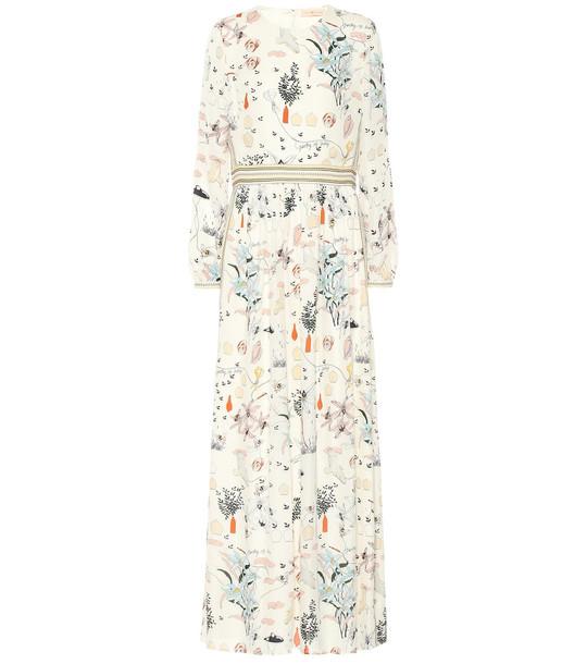 Tory Burch Floral silk maxi dress in beige