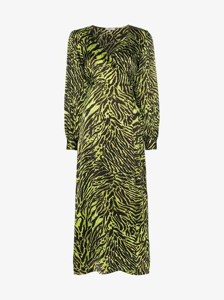 Ganni Tiger print V-neck silk wrap dress