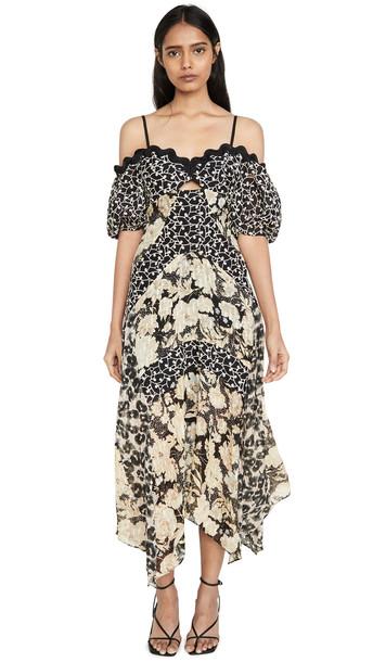 Rebecca Taylor Off Shoulder Print Mix Dress