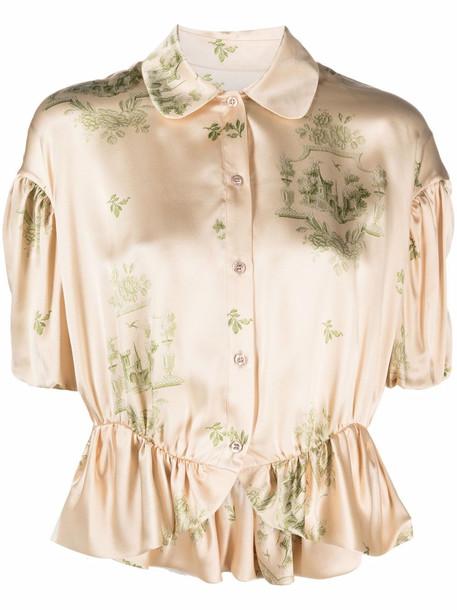 Simone Rocha leaf-print silk shirt - Neutrals