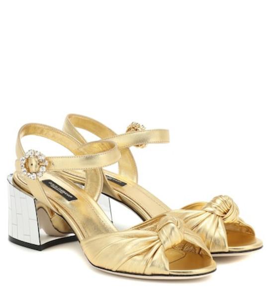 Dolce & Gabbana Kiera nappa leather sandals in gold