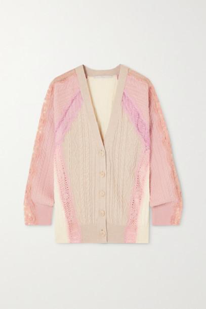Stella McCartney - Effortless Lace-trimmed Cable-knit Wool Cardigan - Beige
