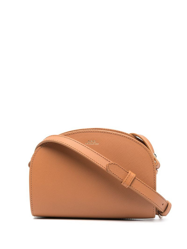 A.P.C. logo zipped shoulder bag in brown