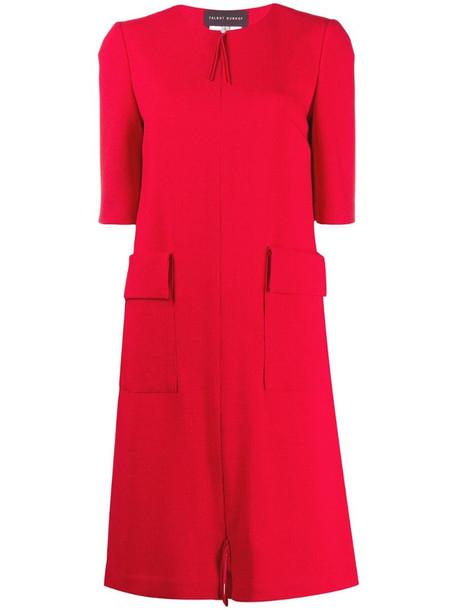Talbot Runhof Boogey front pocket dress in red