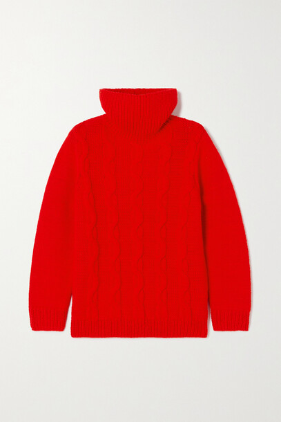 Victoria Beckham - Cable-knit Wool Turtleneck Sweater - Red