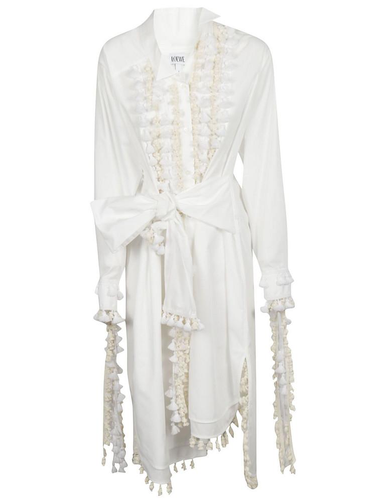 Loewe Tassel-embellished Shirt Dress in white