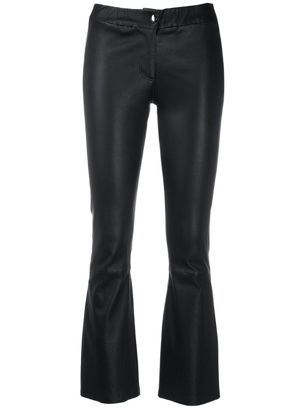 Arma leather kick-flare trousers in black