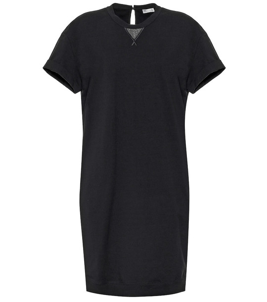 Brunello Cucinelli Stretch-cotton midi dress in black