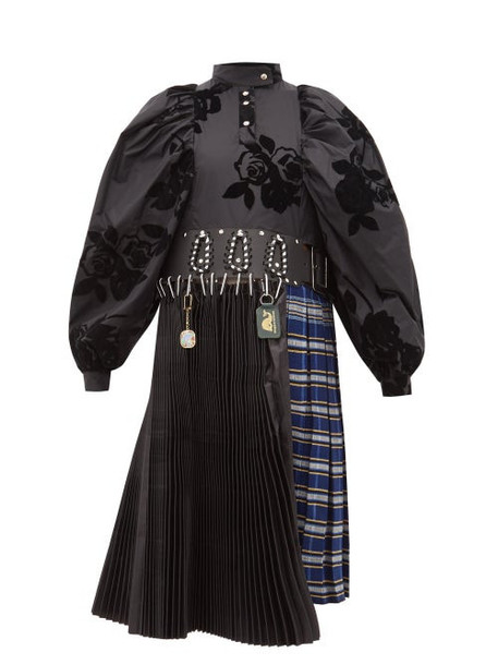 Chopova Lowena - Flocked Floral Puff Sleeve Kilt Dress - Womens - Black Multi