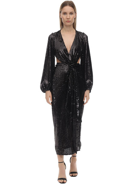 ALICE MCCALL Sequined Midi Dress W/ Cut Outs in black