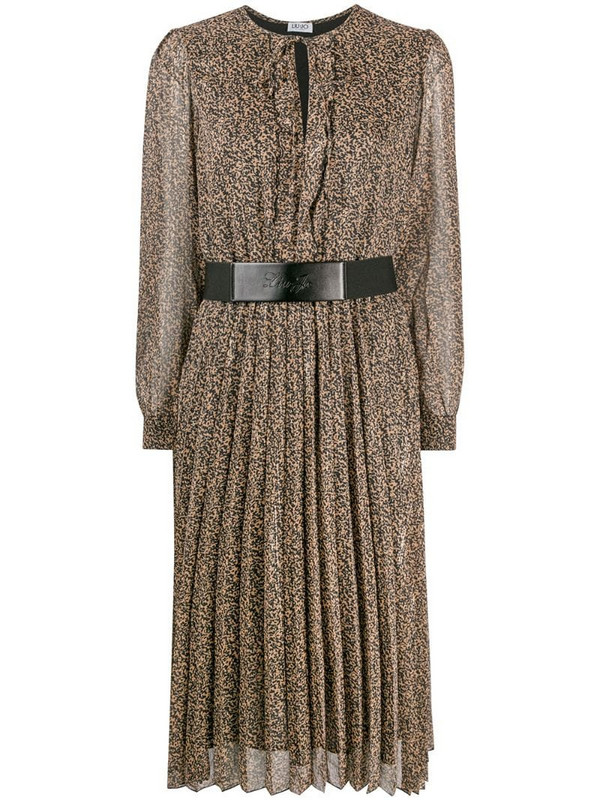 LIU JO abstract-print belted dress in black