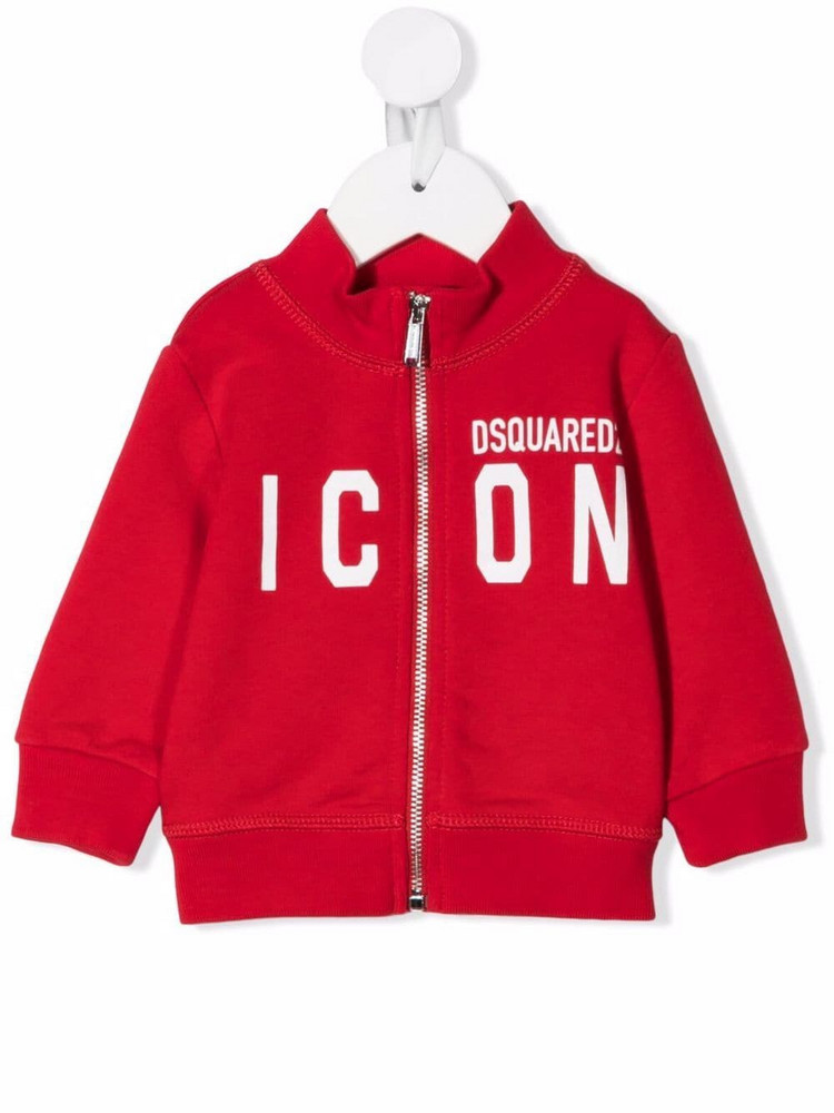 Dsquared2 Kids zipped icon-print jumper in red