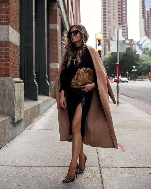 skirt midi skirt black skirt leopard print beige coat pumps black sweater bag