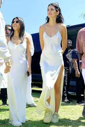 top,silk,satin,tank top,kendall jenner,kardashians,kourtney kardashian,maxi skirt,maxi dress,slit skirt,slit