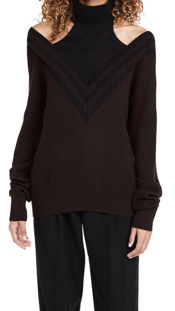 By any Other Name Varsity Halter Cashmere Sweater in black / brown