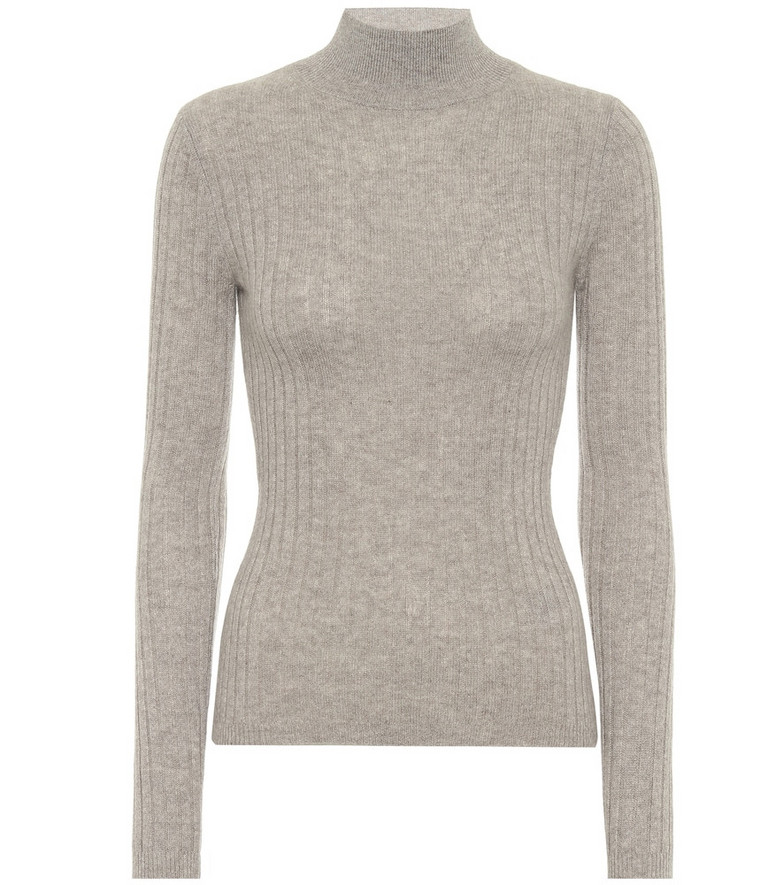 Jardin des Orangers Ribbed knit cashmere turtleneck sweater in grey