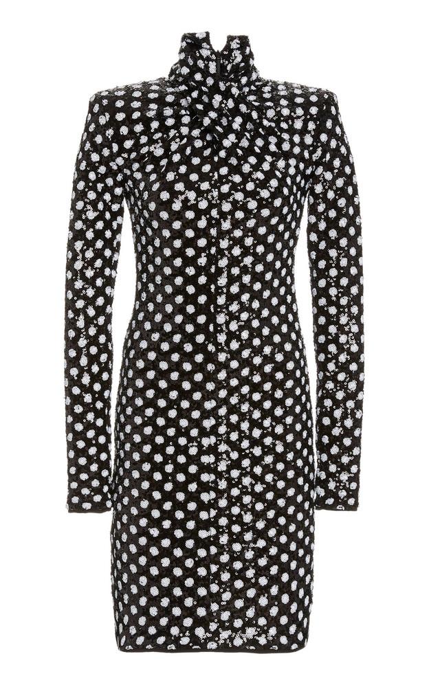 Richard Quinn Sequined Polka Dot Dress in black