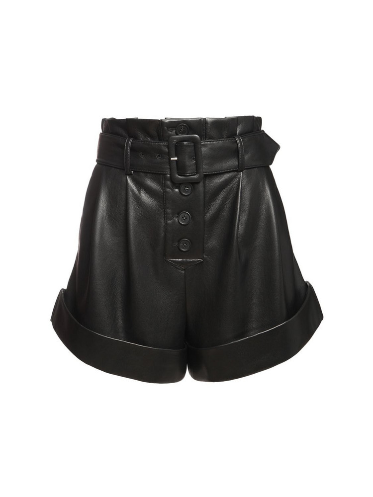 SELF-PORTRAIT High Waist Faux Leather Shorts in black